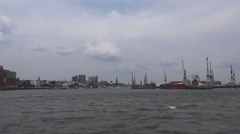 4k Sightseeing boat trip round the Hamburg harbour with cityscape Stock Footage