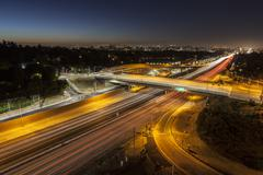 San diego 405 freeway at sunset blvd in los angeles Stock Photos