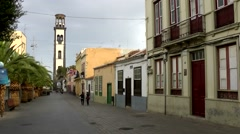 Spain The Canary Islands Tenerife 050 pedestrian zone in Santa Cruz old town Stock Footage
