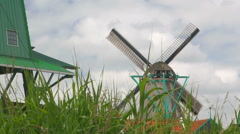 Ancient Dutch windmills at the Zaanse Schans Stock Footage