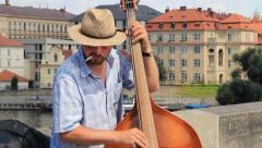 Prague, Czech Republic. Band playing music on the Charles bridge. Stock Footage