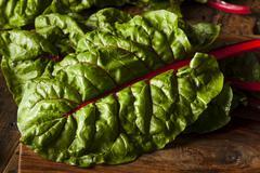 Raw organic red swiss chard Stock Photos