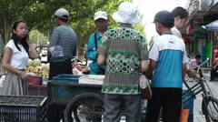 Jiayuguan Street Gansu Province China 82 vendor - stock footage