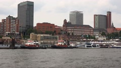 4k Hamburg cityscape from riverside on boat trip round the harbour Stock Footage