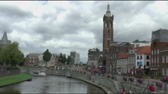 ROERMOND CANAL BOAT Stock Footage
