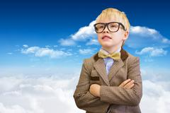 Composite image of cute pupil dressed up as teacher - stock photo