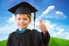 Composite image of cute pupil in graduation robe Stock Photos