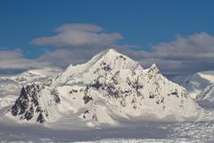 shackleton mountain in the mountain range on the antarctic peninsula - stock photo