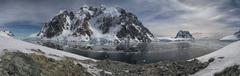 strait between the antarctic peninsula and one of the islands in summer day - stock photo