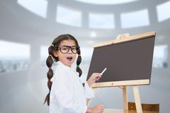 Composite image of cute pupil with chalkboard Stock Photos