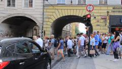 Busy street in Prague and crowded pedestrian crossing. Tourists in Prague Stock Footage