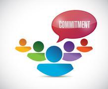 Commitment teamwork message illustration Stock Illustration