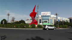 Jiayuguan Street Gansu Province China 116 square - stock footage