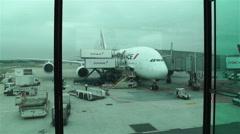 Paris Charles De Gaulle International Airport 6 air france airbus a380 Stock Footage