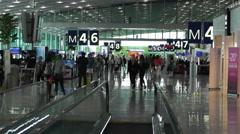 Paris Charles De Gaulle International Airport 8 terminal interior Stock Footage