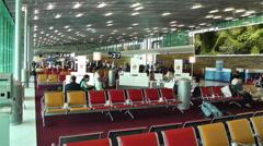 Paris Charles De Gaulle International Airport 9 terminal interior Stock Footage