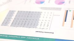 Work with financial report on table Stock Footage