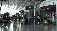 Shanghai Pudong International Airport 5 terminal interior - stock footage