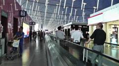 Shanghai Pudong International Airport 7 terminal interior Stock Footage