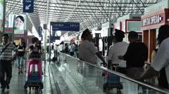 Shanghai Pudong International Airport 8 terminal interior Stock Footage