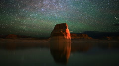 Stock Video Footage of 4K Astrophotography Time Lapse of Milky Way & Lone Rock in Lake Powell -Close Up