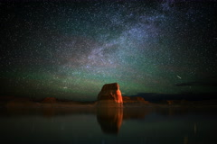 6K Astrophotography Time Lapse of Milky Way & Lone Rock in Lake Powell Stock Footage