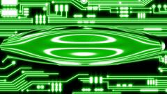 Green Looping Circuit Board Tech Abstract with ocular effect Stock Footage