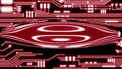 Red Looping Circuit Board Tech Abstract with ocular effect Stock Footage