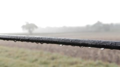 Pull Focus from Fence on a Misty English Field Stock Footage
