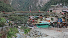 Aguas Calientes, Machu Picchu Pueblo, Peru - Timelapse Tourists taking bus - 4K - stock footage