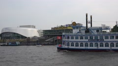 4k Paddle steamer Louisana Star boat trip round the Hamburg harbour Stock Footage