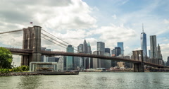 New York City Brooklyn Bridge downtown buildings skyline  time-lapse 4k Stock Footage