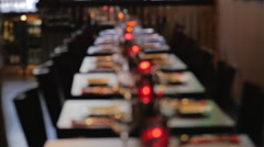 Empty restaurant tables in a row Stock Footage