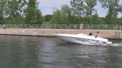 Motor boat on the Chambly canal 1 Stock Footage