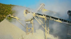 Small factory for the production of gravel for road construction. working sto Stock Footage