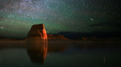 Astrophotography Time Lapse of Star Trails & Lone Rock over Lake -Pan Left- - stock footage