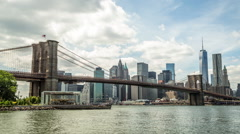 New York City Brooklyn Bridge downtown buildings skyline  time-lapse - stock footage