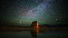 Astrophotography Time Lapse of Star Trails & Lone Rock over Lake -Zoom In- - stock footage
