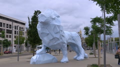 Le Lion sculpture - Bordeaux France Stock Footage