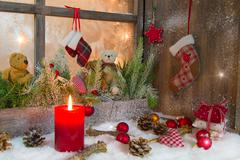 Rustic lantern with candlelights for christmas - classic in red and white Stock Illustration