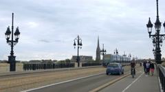 Traffic on the Pont de Pierre bridge - Bordeaux France - HD 4k+ Stock Footage