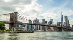 New York City Brooklyn Bridge downtown buildings skyline  time-lapse Stock Footage