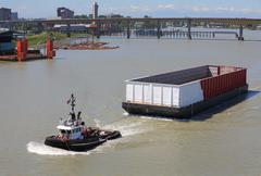 Empty Barge, Fraser River, British Columbia Stock Photos