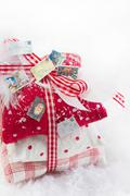 classic christmas decoration in white and red checked - idea for a greeting c - stock photo