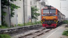 Bangkok, Thailand-Train arrive at Railway Station Stock Footage