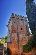 Alhambra castle tower granada andalusia spain Stock Photos