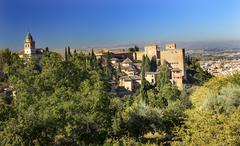 Alhambra church castle towers granada andalusia spain Stock Photos
