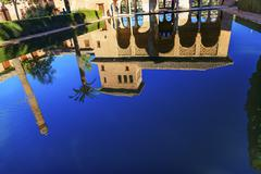 Alhambra courtyard el partal pool reflection granada andalusia spain Stock Photos