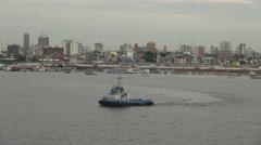Manaus Amazon River with tug s - stock footage