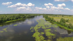 Flight with decrease over river. Aerial   view Stock Footage